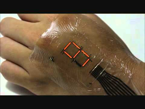 Ultrathin organic material enhances e-skin display