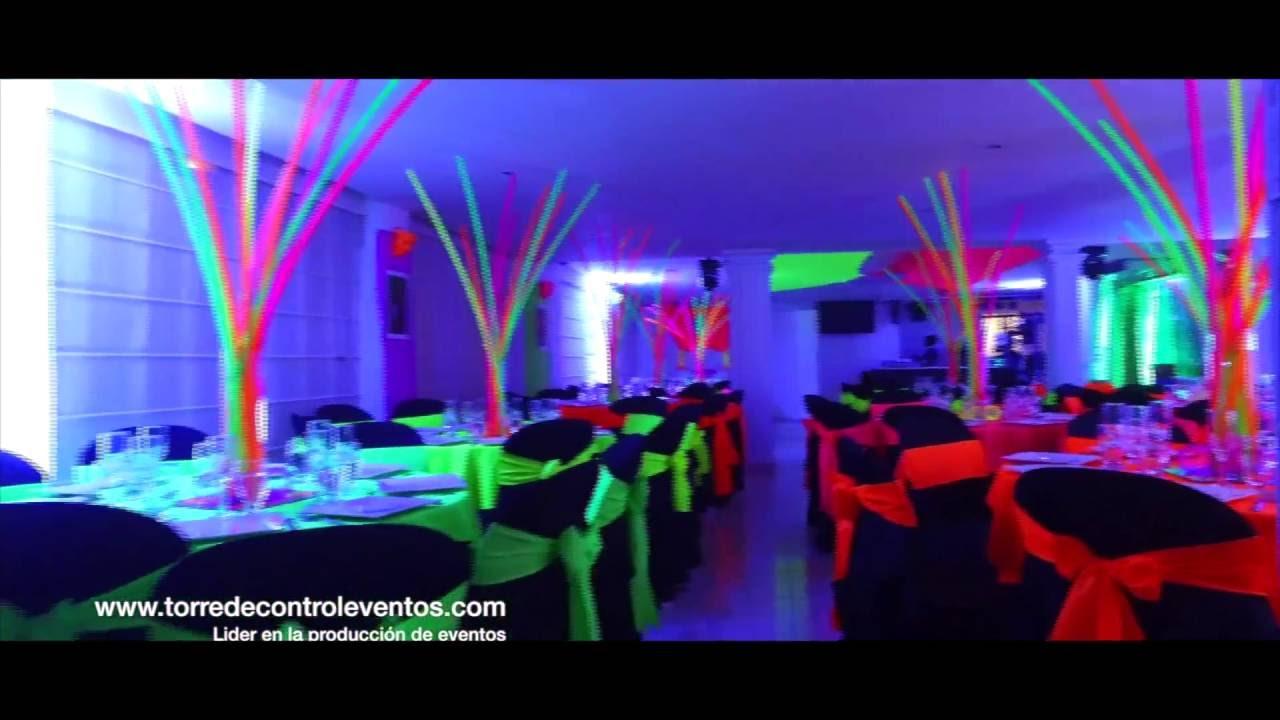 Fiesta tematica neon 15 años - YouTube