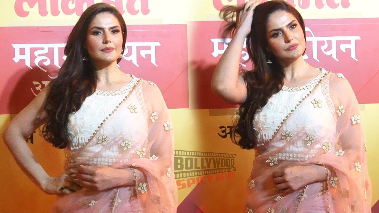 Zarine Khan in Pink Saree at Lokmat Maharashtrian of the Year Awards 2019