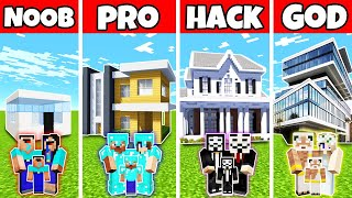 Minecraft: FAMILY FUTURE WONDERFUL MANSION BUILD CHALLENGE - NOOB vs PRO vs HACKER vs GOD