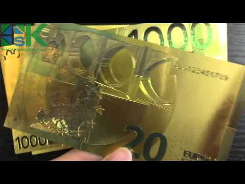 Gold Euro Banknote, Gift Set, Gold Foil Euro Bill
