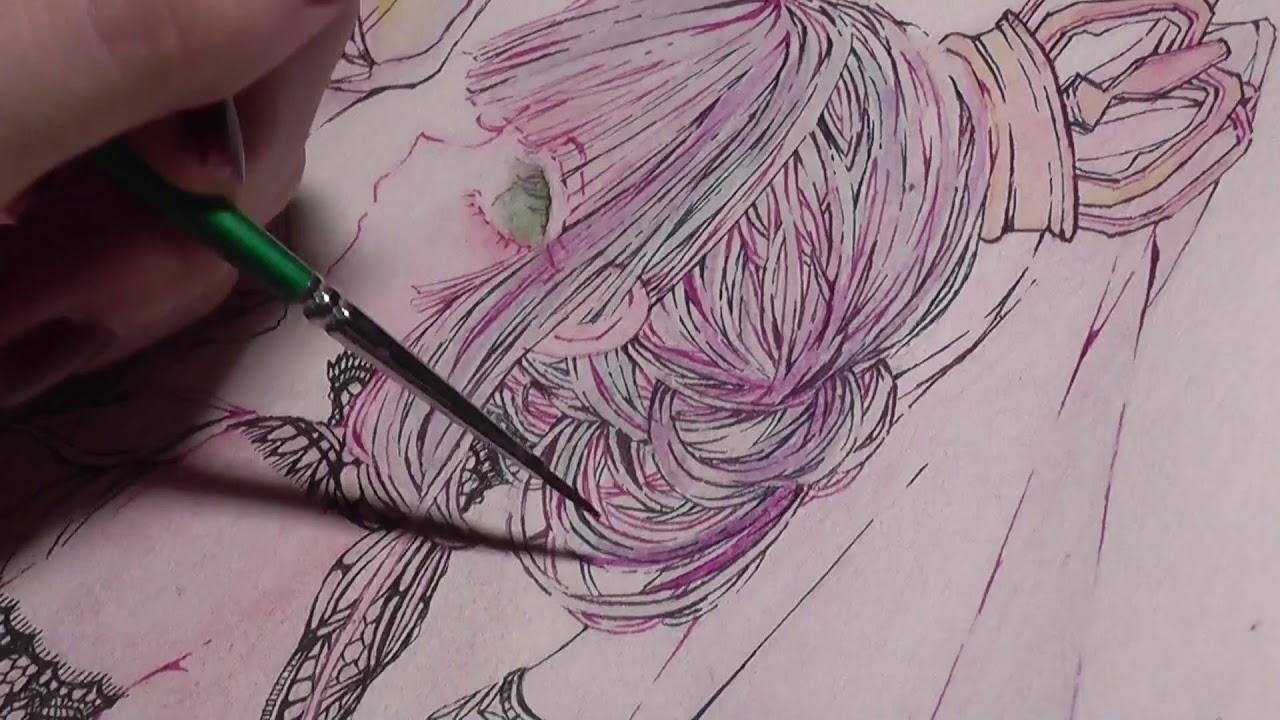 【水彩】黒レースドレスの女の子 イラストメイキング WaterColor Speed painting