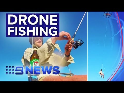Mates Go Fishing From Drone Towed Deck Chair | Nine News Australia