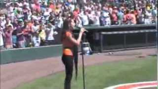Haley Faye singing The National Anthem Orioles Pirates 3 9 14