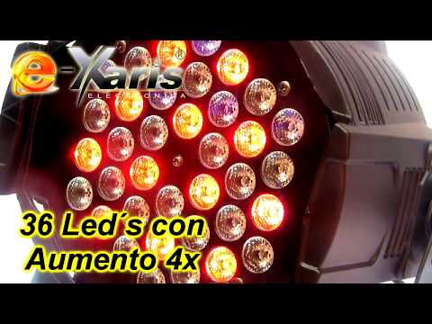 Par Led Light Con 36 Mega Led´s RGB Con Aumento 4x
