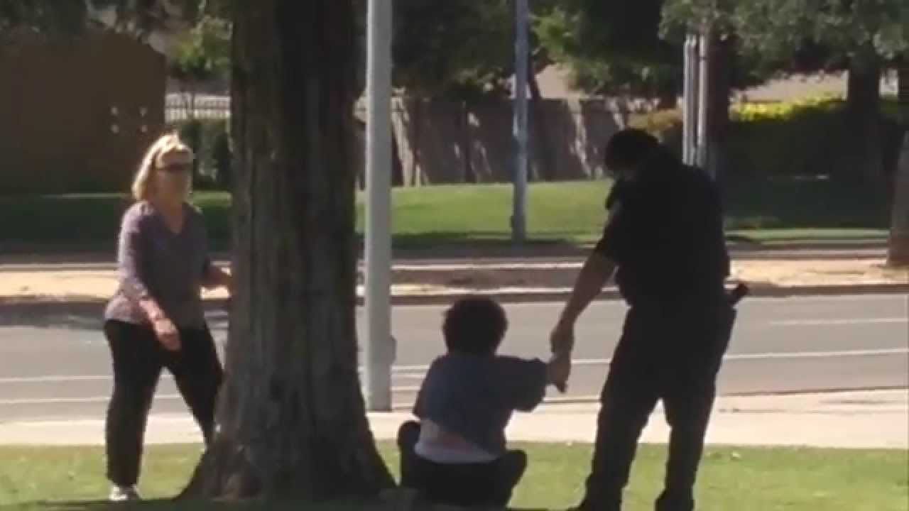 clovis unified officer handcuffs woman at kastner