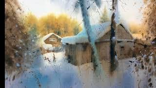 Сергей Курбатов. Акварель. Зима. /  Watercolors by Sergey Kurbatov. Winter.