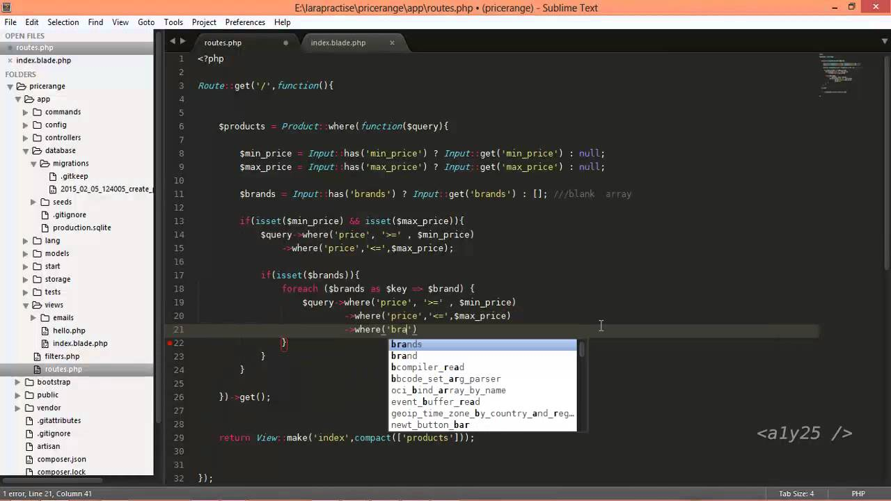 laravel 4 2 - products, price range and brands filter for ecommerce like