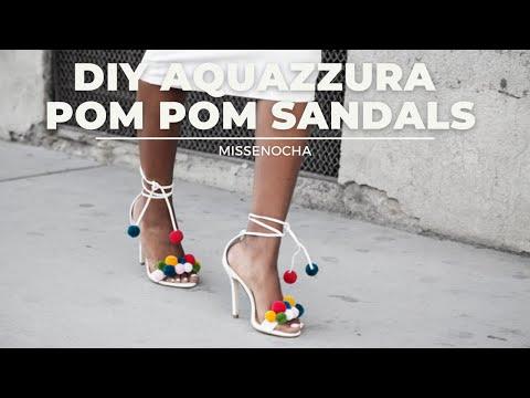 DIY: Aquazzura Pom Pom Sandals - YouTube