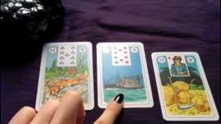 An example reading with the Lenormand cards with three cards
