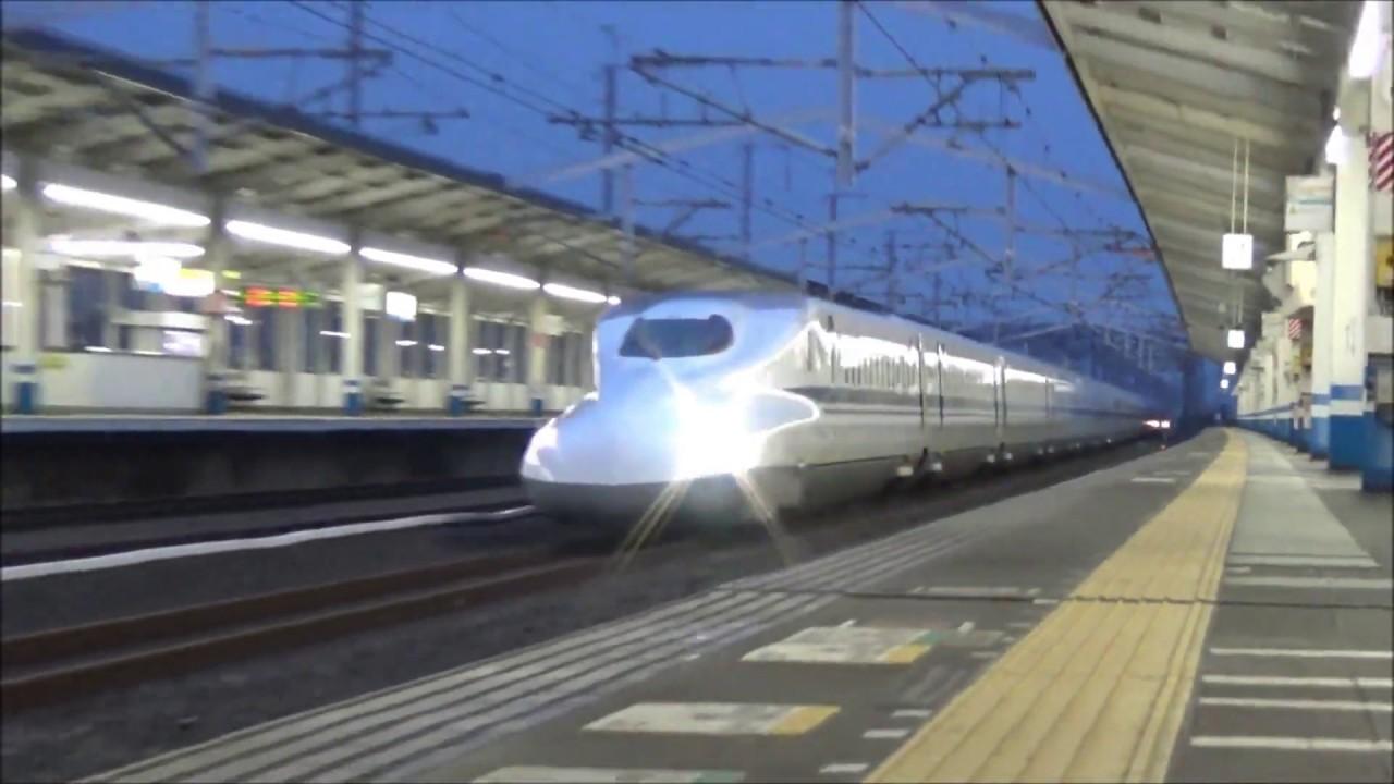 【通過シーン集#48】山陽新幹線 新倉敷駅(速度付き)