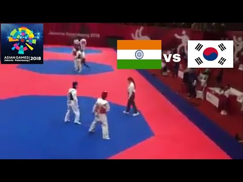 India(kashish Malik)Vs Korea TAEKWONDO Fight At Asian Games Jakarta Palembang 2018