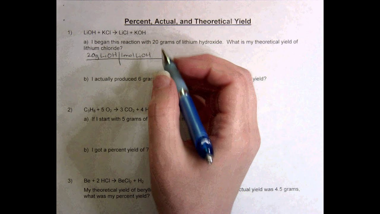 Percent Actual And Theoretical Yield Youtube