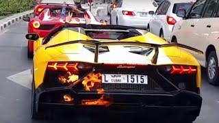 Lamborghini pegando fogo no Trânsito em Dubai