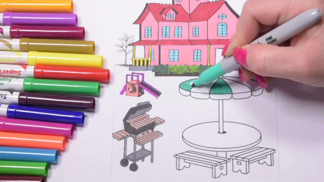 Super coloring pages villa house garden villa coloring for kids and toddlers