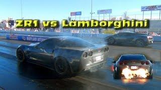 eric lancaster zr1 vs lamborghini zr1 shoots flames out the exhaust