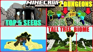 Minecraft PE - TOP 5 BEST SURVIVAL SEEDS ! RARE BIOMES, DOUBLE DUNGEON & MORE ! | MCPE 1.1