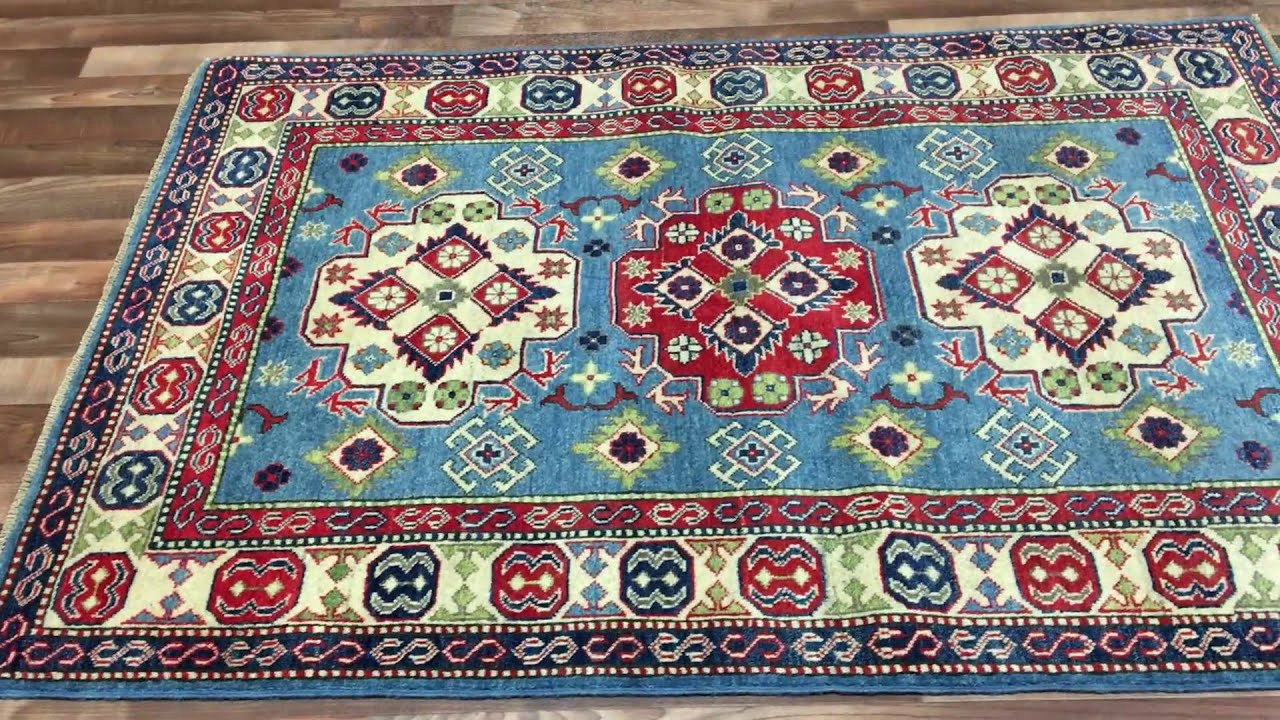 Small Red And Blue Stan Kazak Oriental Rug 4 X5 10 A 1283