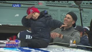 Patriots Super Bowl Parade: Tom Brady's Son Dabs Atop Duck Boat