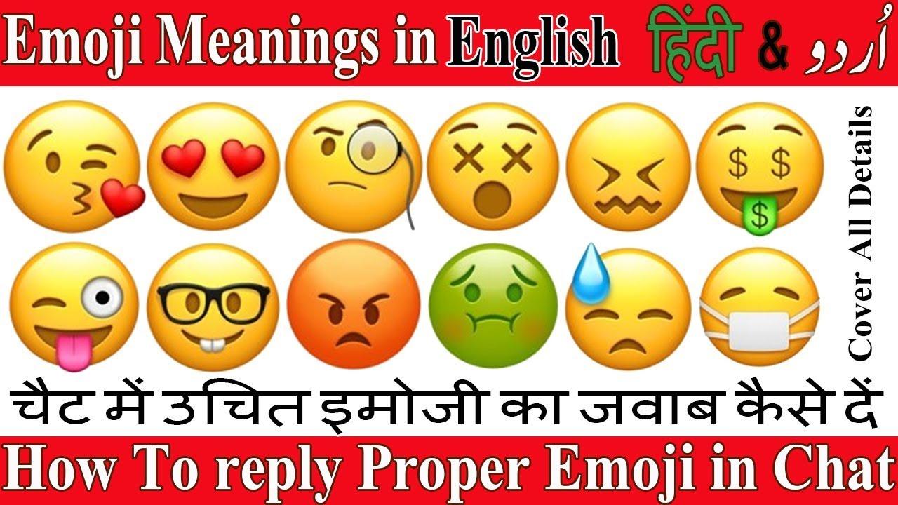 All Whatsap Face Emojis Meanings in Hindi English & Urdu-Learn all Emoji  Names in Hindi