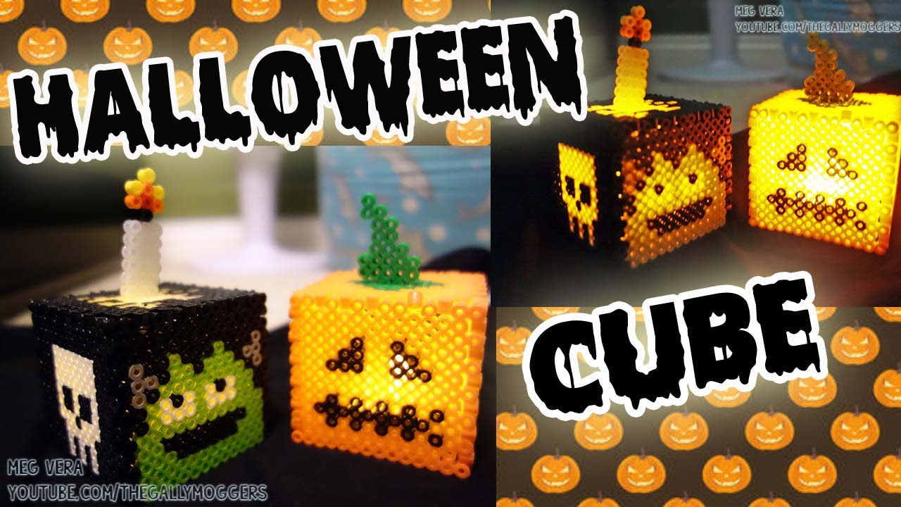 perler hama bead halloween cube tutorial how to
