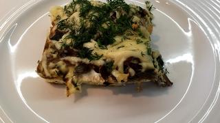 Диетическая запеканка с курицей и грибами. ПП жульен.  Diet casserole.