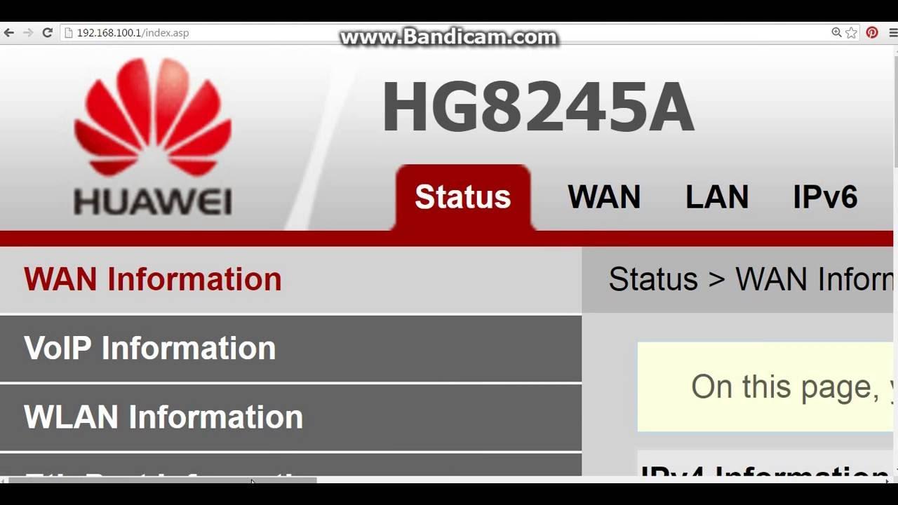 Tutorial Setting Modem Huawei 8245 Fiber