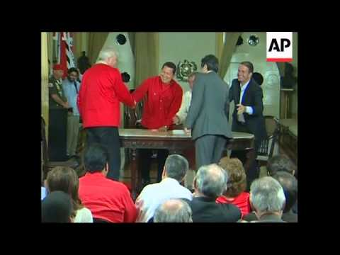 WRAP Venezuelan president presser, leaders at site of future oil refinery, signing