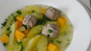 Суп с фрикадельками и вермишелью. Вкусный суп 30 минут