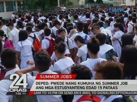 24 Oras: DepEd:  Pwede nang kumuha ng summer job ang mga estudyanteng edad 15 pataas