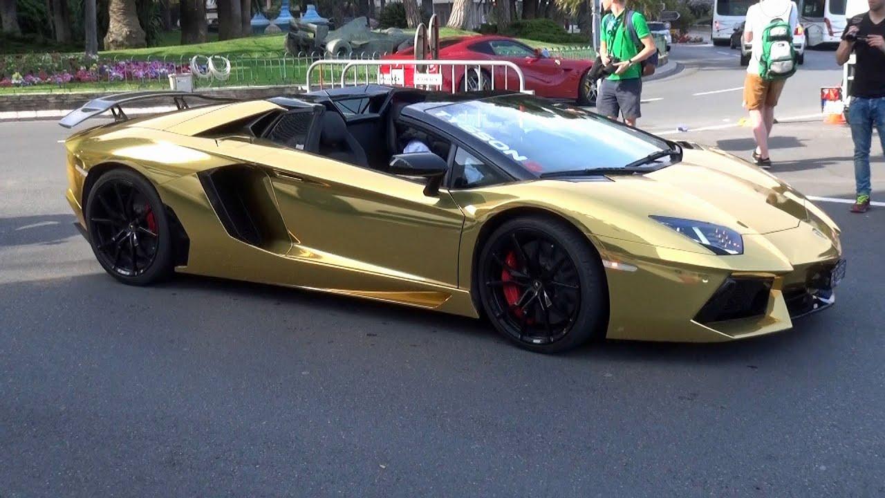 lamborghini aventador gold 2015. gold lamborghini aventador roadster at top marques monaco 2015 gold youtube