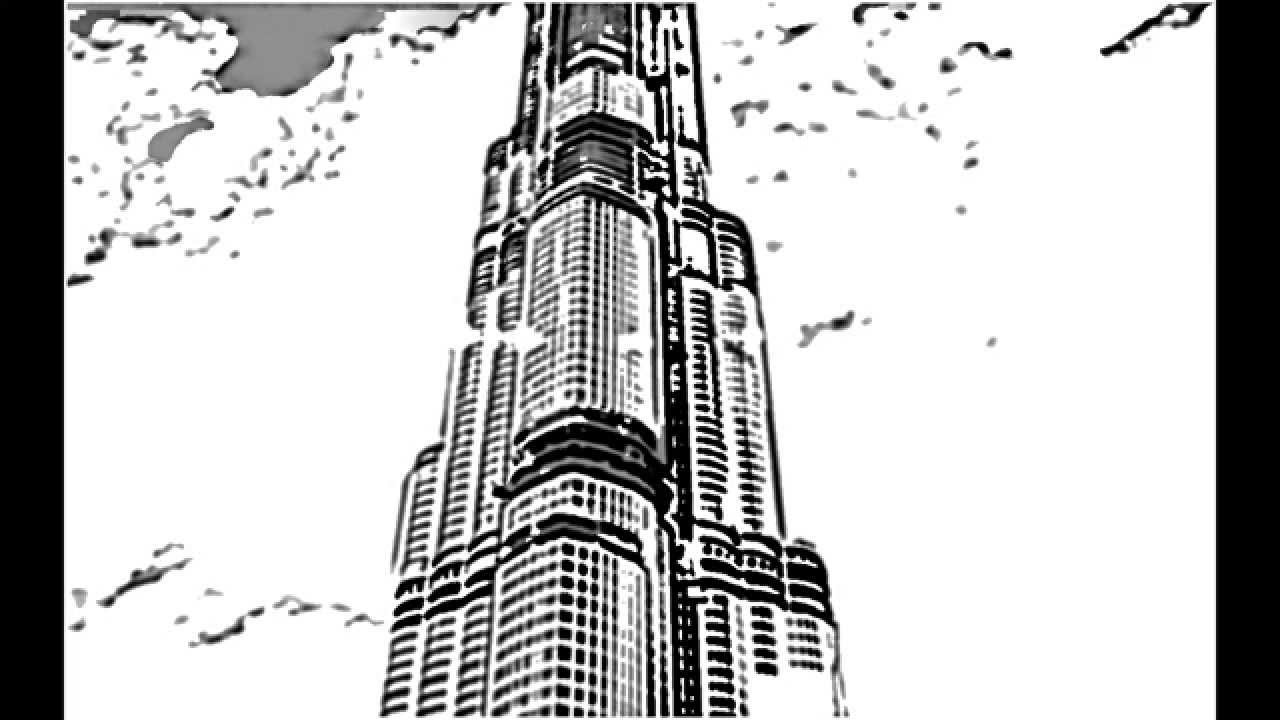 How to sketch burj khalifa dubai with sky youtube for Burj khalifa sketch