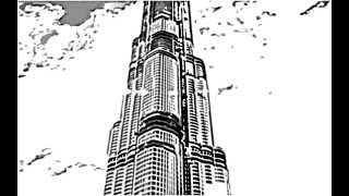 how to sketch Burj Khalifa Dubai with Sky