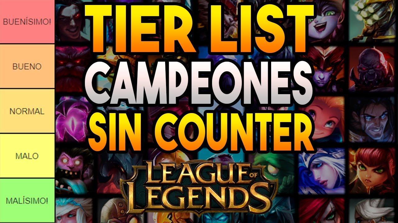 TIER LIST campeones con MENOS COUNTER (más SEGUROS) LEAGUE OF LEGENDS | GUIA LOL