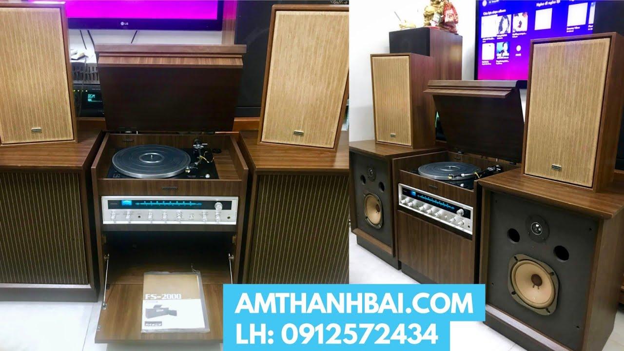 ❌ ĐÃ BÁN ❌ Tủ đài đĩa than Nhật PIONEER FS 2000 đầy đủ 4 loa màng FB và catalogue – LH: 0912572434