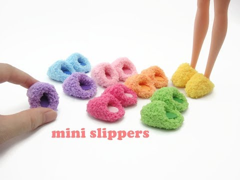DIY Miniature Doll Mini Fuzzy Room Slippers - Easy!