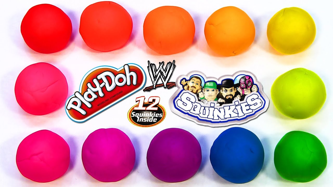 12 Play-Doh Rainbow Surprise Eggs with WWE World Wrestling Entertainment Squinkies Series 4