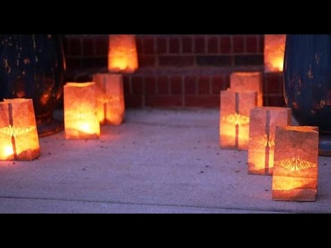 Paper Bag Luminaries with Battery Operated Candles -  No Fire Hazard!