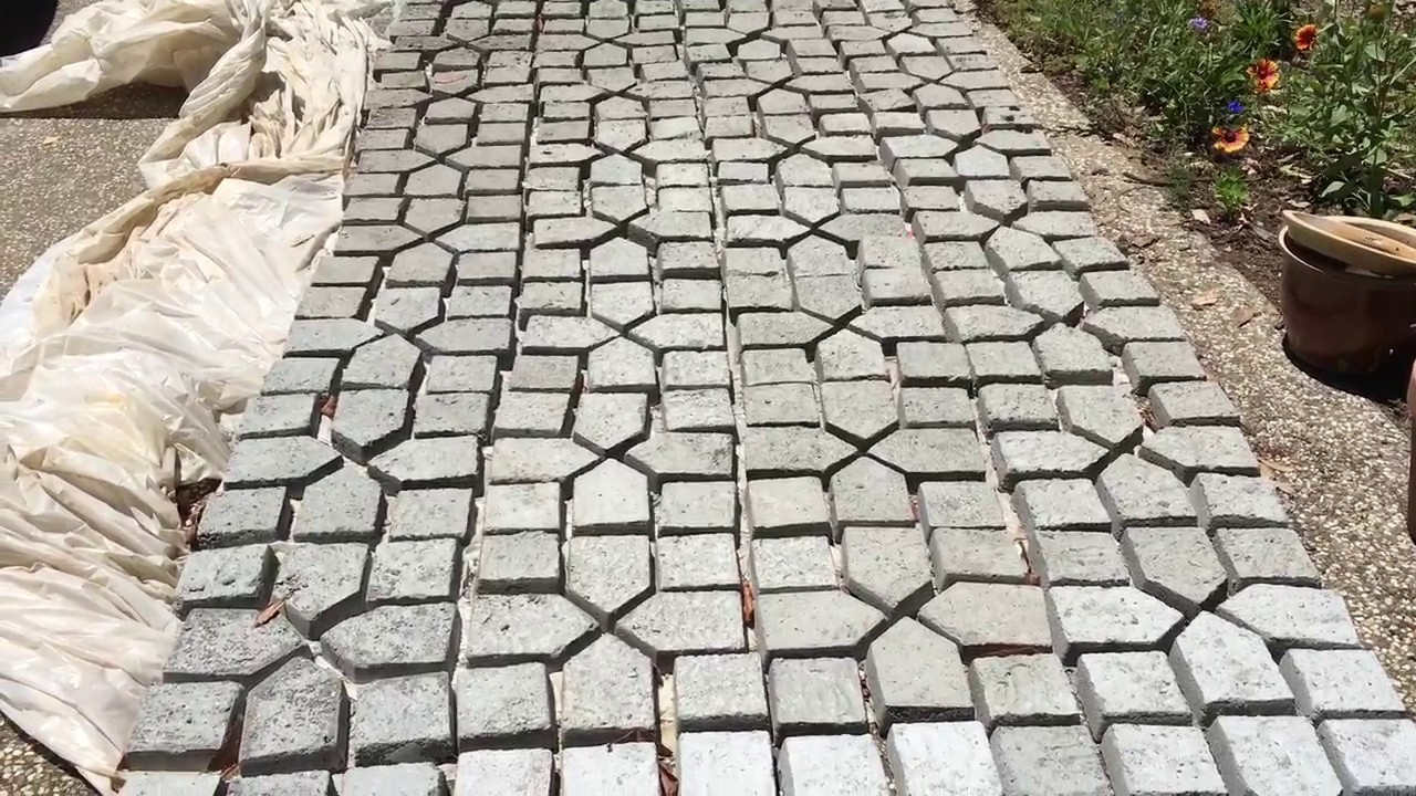 Making your own pavers from a concrete mold youtube for How to make designs in concrete