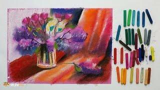 """Курс рисования """"Сухая пастель"""" Начинающие. Урок 3-1. Сирень."""