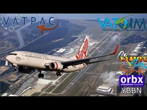 PMDG 737-800 flies Virgin on Vatsim. Flytampa Sydney - Brisbane Orbx