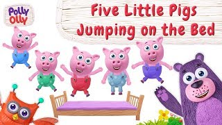 Five Little Pigs Jumping | Nursery Rhymes | Polly Olly