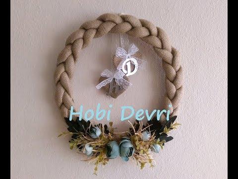 DIY,Easy Door Decoration,Braided Burlap Wreath-Kapı Bandından,Hasır Örgü Kapı Süsü Yapılışı