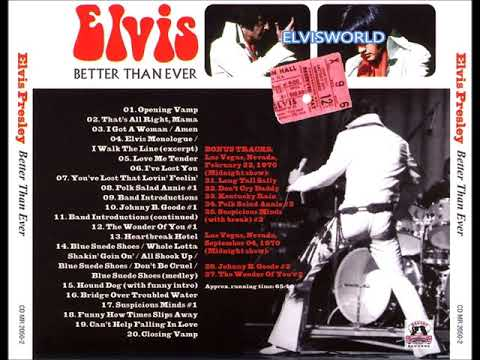 ELVIS PRESLEY    BETTER THAN EVER  Recorded live at Convention Center  September 12, 1970