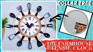 DIY DOLLAR TREE FARMHOUSE KITCHEN UTENSIL CLOCK | Create A Rustic Clock with A Pizza Pan Under $8!