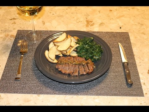 Pan-Seared Steak with Kale and Creamy White-colored Beans