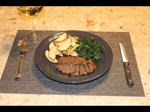 Blue Apron Steaks & Green Peppercorn Sauce w/ Kale & Roasted Potato