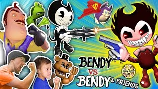 BENDY & THE INK MACHINE GUNS vs. HELLO NEIGHBOR, FGTEEV, AMAZING FROG, TATTLETAIL & FNAF Garry's Mod