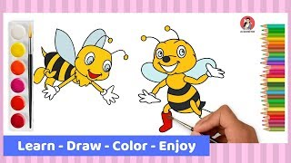 How To Draw Bee Step By Step For Kids | Drawing And Coloring Pages 2019