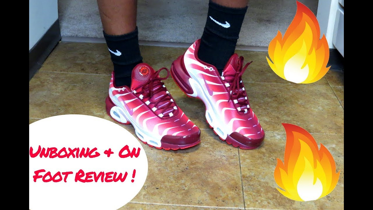 premium selection b8d15 aef80 ... discount 2018 nike air max plus tn red white unboxing on feet 0a49d  1272f
